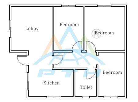 Light Steel Villa layout 80 square meter (3 bedrooms and 1 washroom
