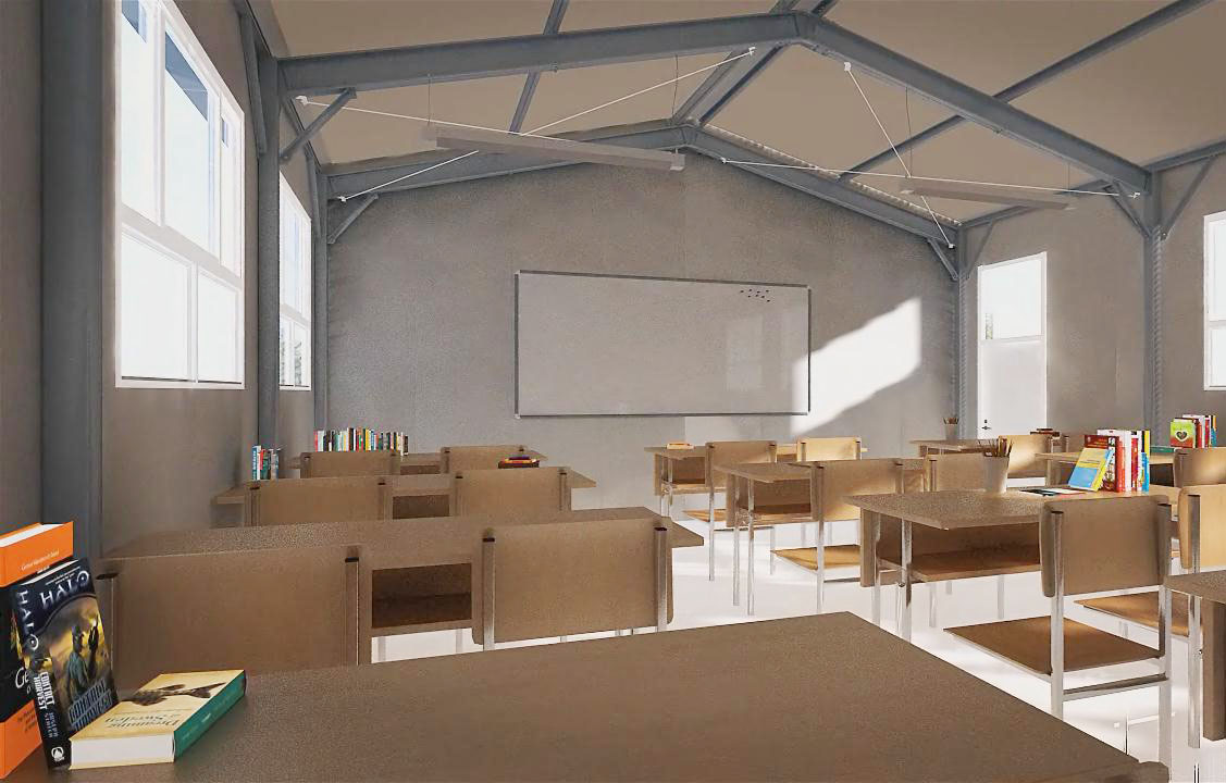 steel frame school interior view
